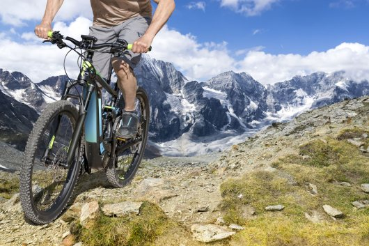 E-bike rider in the mountains