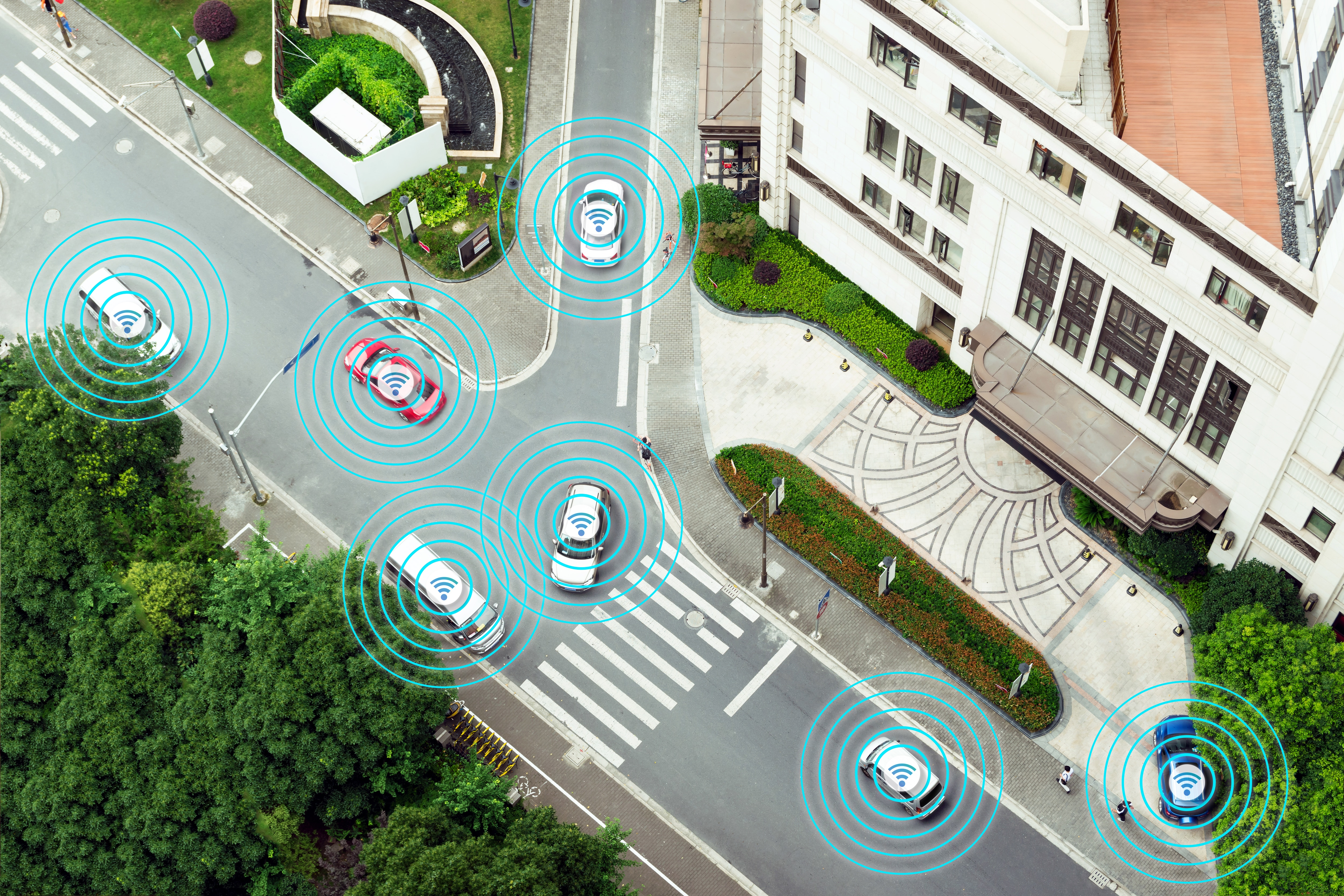 Digital transformation Trends in automotive industry. Smart car , Autonomous self-driving mode vehicle on metro city road iot concept with graphic sensor radar signal system , internet sensor.